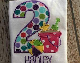 custom embroidered personalized beach birthday shirt
