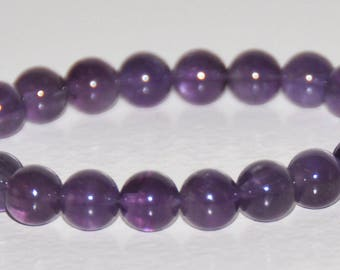 Amethyst Stretch Bracelet, Gemstone Healing, Purple Bead, Stacking Bracelet, February Birthstone, Anxiety, Stress Bracelet, Grief Jewelry
