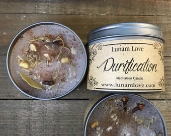 PURIFICATION Meditation Candle //Tin Candle // Spell Candle // Ritual Candle // Calming // Cleansing // Exorcism // Clearing // Witchcraft