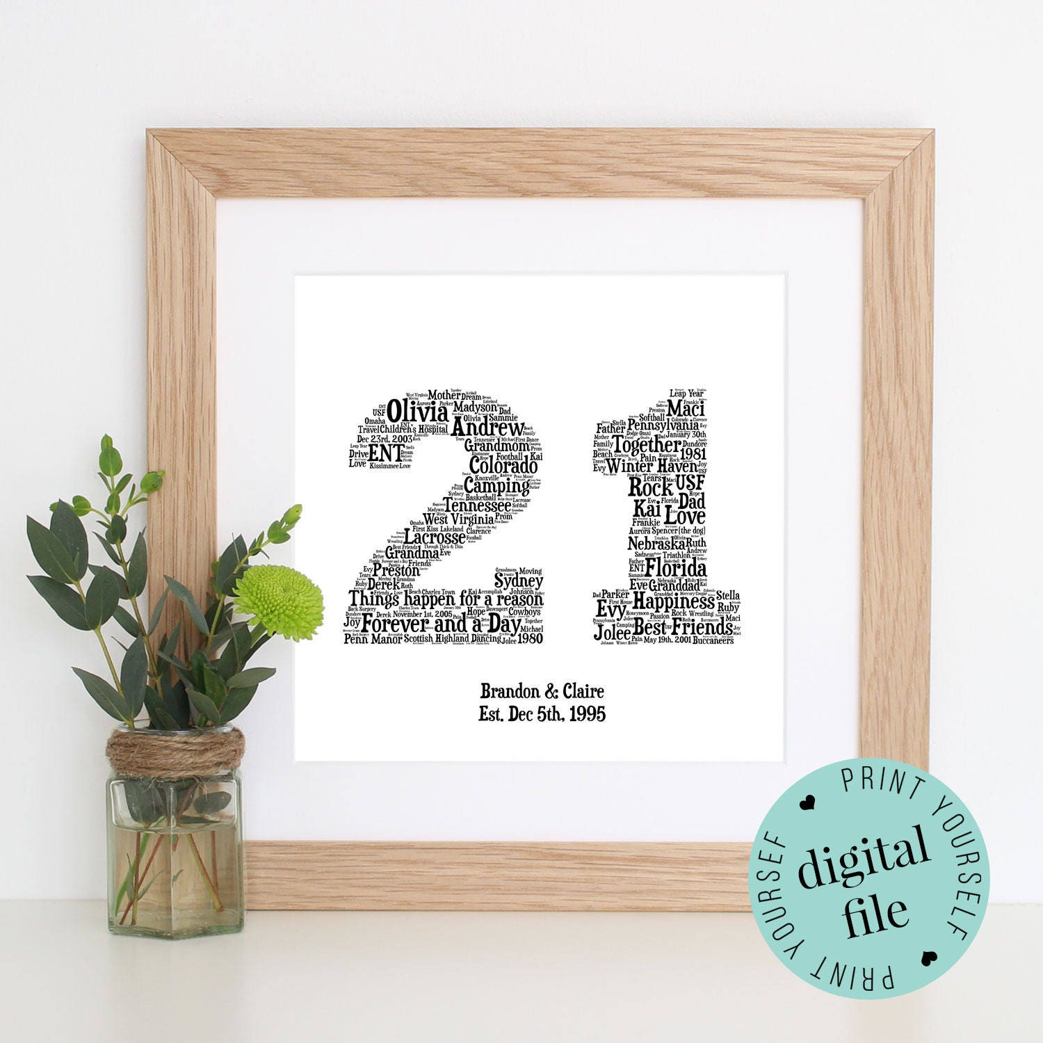 Gifts For 21st Wedding Anniversary: 21st ANNIVERSARY GIFT Word Art Printable Gift 21 Year