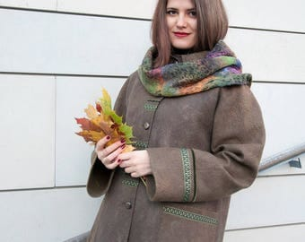 """Cozy felted jacket, free style, """"Autumn"""", comfort in sock, Felted clothing, Seamless, Comfortable pockets, Felted coat, Women clothing"""