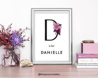 Danielle 4x6 Print Name Cards Printable Nursery Wall Art Kids Printable Stationary Kids Party Favors Baby Shower Card Baby Girl Gift
