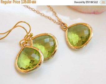 SALE Wedding Jewelry Set, Apple Green Earrings and Necklace, Green Apple, Peridot, Green, Gold Filled, Bridesmaid Jewelry, Pendant, Brides G