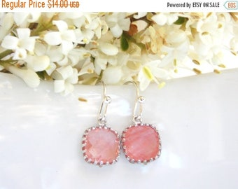 SALE Wedding Jewelry, Coral Earrings, Grapefruit,Peach,Silver,Bridesmaid Jewelry,Petit Earrings, Dangle, Bridesmaids Gifts, Wedding Gifts, D