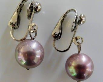 Clip on earrings-pink earrings-gemstone earrings-semiprecious earrings-silver-handcrafted-one-off-feminine-seashell pearls