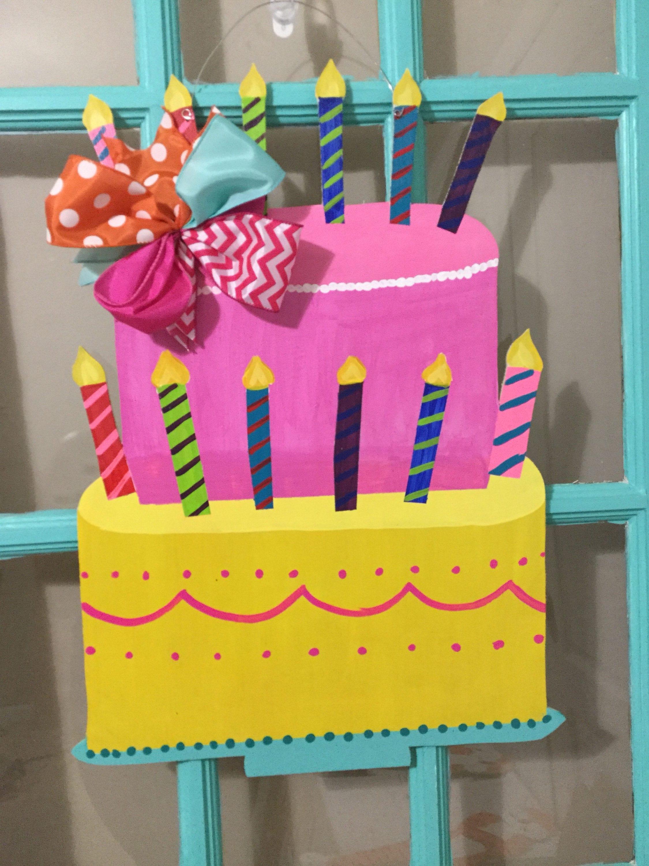 Birthday Cake Wooden Door Hanger