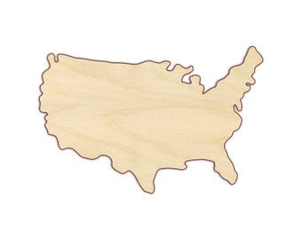 USA Map Wood Cutout  - Independence Day - July 4 - 4th of July - Fourth of July - 170275
