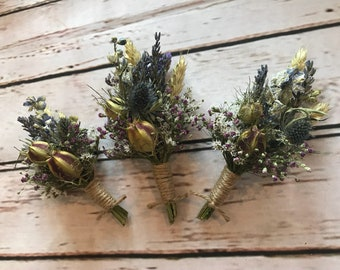 Beautiful Thistle Buttonholes. Made from dried flowers and grasses for a rustic, vintage or country feel. SCOTTISH tartan or twine. Lavender