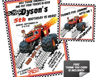 Monster Truck Party Printable Invitation with FREE Thank you Tag-DIY Digital File-Blaze Birthday Invitation -You Print