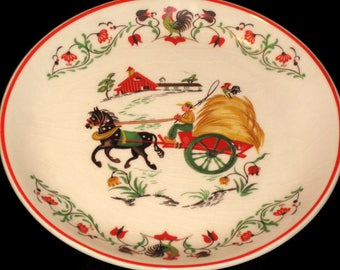 Vintage Harmony House Plate, Down Home Plate, Horse And Wagon Plate, Rooster Trim, Farm Plate, Country Decor Plate, Vintage Harmony House