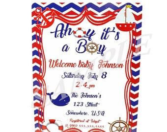 Nautical Baby Shower Invitation, Ahoy its a Boy Invitation, Nautical, Nautical Invitation, Boy Baby Shower Ideas, Nautical Party