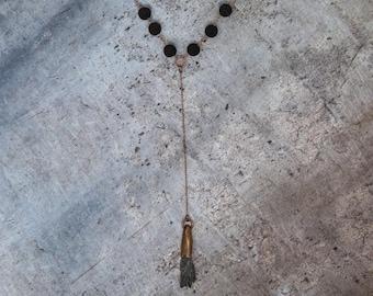 Copper Cased Black Kyanite Necklace with Lava Stone