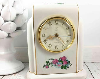 Paul Sebastian Clock,PS Clock,Limited Edition,1996,Mantel Clock,white,floral design,gold lines,quartz clock,battery clock,ceramic clock