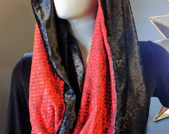 Black and Red Heather Infinity Scarf