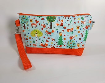 SPECIAL Small Knitting Project Bag - Critter Frolic - Zippered Wedge Bag, Zipper Knitting Bag, Cosmetic Bag, Sock Knitting Bag WS0051