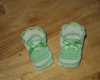 Pair of booties, birth, baptism keepsake gift, green and white