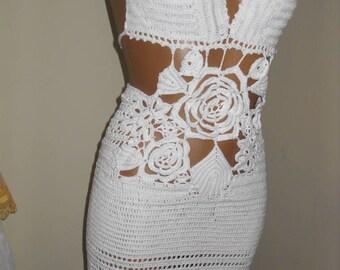 Sexy white crochet crochet dress with 3e flower for girls