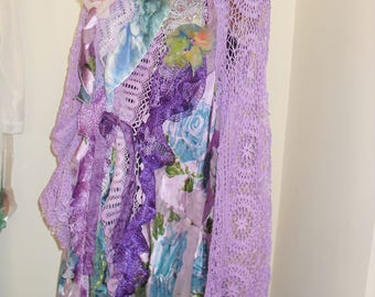 Beautiful Feminine Unique Art To Wear Summer  purple crochet Jacket   LOVELY DOILIES, handmade lace, silk Fairy Marian Gipsy Boho Tattered