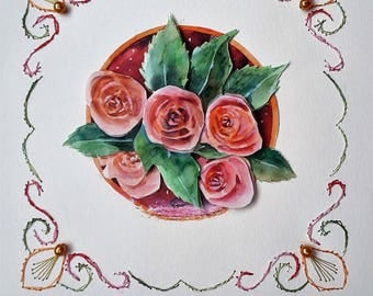 Rosebuds - hand made card