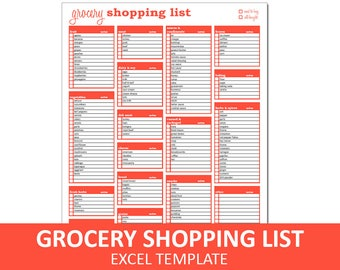 Grocery Shopping List | Shopping List Excel Template Printable | Grocery Checklist | Instant Digital Download