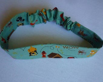 Baby headband, blue green cotton patterned small dogs and doghouses