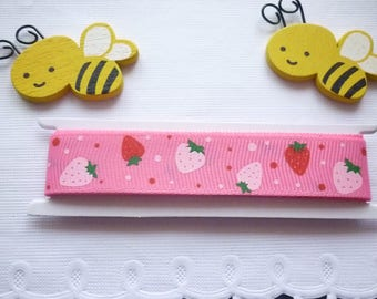 Grosgrain Ribbon Strawberry pink and Red