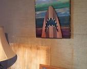 Handmade wooden Jaws wall...