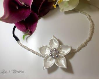 Pearl White wedding satin flower headband headband * 3 lace *.