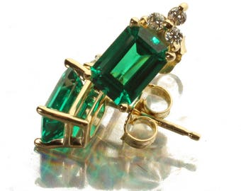 14K Yellow Gold Chatham® Lab Created Emerald & Diamond Stud Earrings 2.0 CTW, Set with 7MM x 5MM Emerald Shape Chatham Emeralds