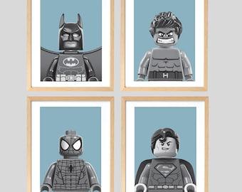 Lego Superhero Wall Prints x 4, Spiderman, Superman, Batman, The Hulk, Teal Blue, A4 Size, Printable Posters, Digital Download, Boys Art