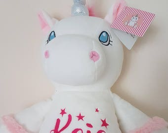 Personalised Unicorn Present, Child Keepsake Gift, Custom Embroidery Baby Teddy, Embroidered Birth Plush Stuffed Animal Toy christening