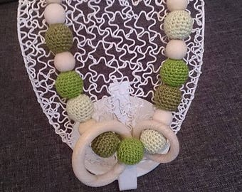 Breastfeeding and Babywearing necklace shades of green