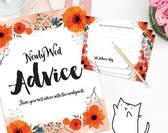 MARRIAGE ADVICE - Sign and Advice Cards for Bridal Shower - Orange Flowers | Floral | Spring | Garden Theme [Instant Digital Download]