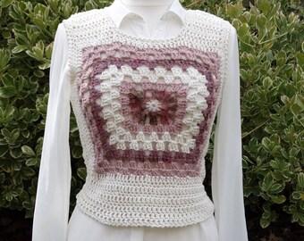 """short """"tender granny"""" crochet sleeveless sweater"""