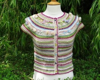 crocheted with handspun yarn, handmade, Merino and fancy Cardigan