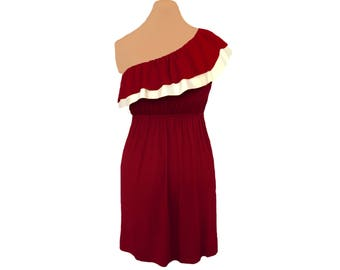 Deep Red + White One-Shoulder Dress