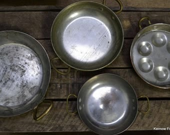 3 Copper Pans & Egg Poacher