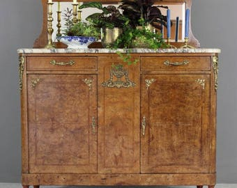 Antique French Burr Walnut & Marble Sideboard