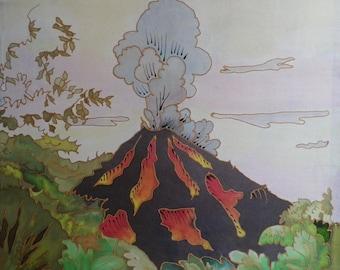 """volcano"" @evysoie silk painting"