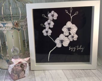 Black and White Orchid, Box frame,