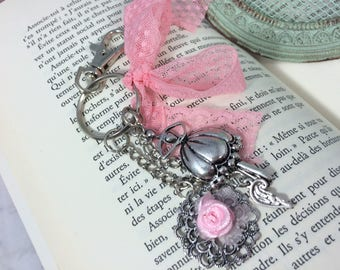 Pink ballerina lace bag charm