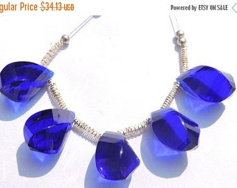 25% OFF 5 Pcs Set Outrageous Cobalt Blue Quartz Faceted Twisted Drops Briolette Size 19*10 MM