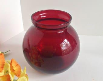 Vintage Anchor Hocking ROYAL RUBY Vase – Mid Century Ruby Red Glassware