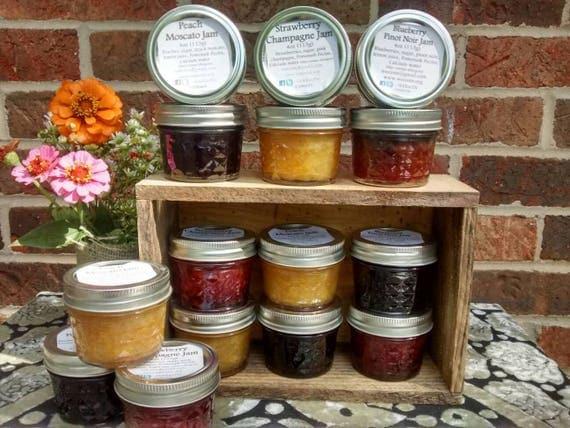 12- 4oz Cordial Jam Variety Pack, Strawberry, Peach, Blueberry, Jam, Preserves, Jelly