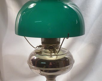 Juno Oil Lamp Converted to Electric, Green Glass Shade, Working