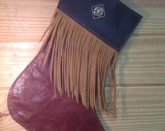 Handcrafted Leather and Hair on Hide Christmas Socking