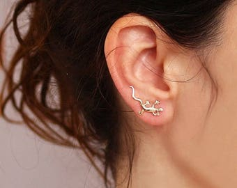 SUMMER SLE Gold  lizard Ear Cuff ,   pin lizard  earrings ,    , Ear Climber , lizard jewelry, gecko jewelry, Nickel FREE