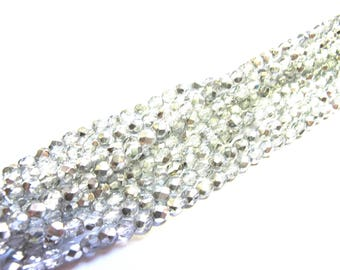 25 CRYSTAL ROUND FACETED CRYSTAL AND SILVER 4 MM