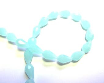 4 BLUE OPAL 10/15 MM FACETED CRYSTAL DROPS