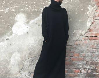Plus Size Maxi Dress, Knit Sweater Dress, Long Maxi Dress, Minimalist Fashion, Women Dress, Elegant Dress, Black Dress, Bohemian Clothing